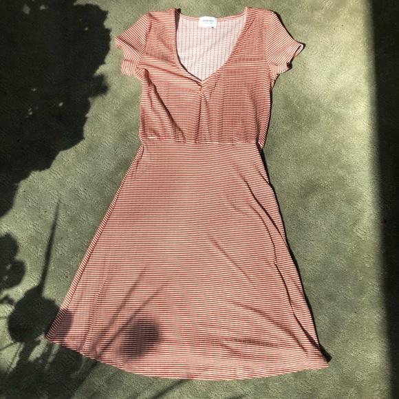 Ardene Dresses & Skirts - Cute Cream and Orangey-Brown Striped Dress